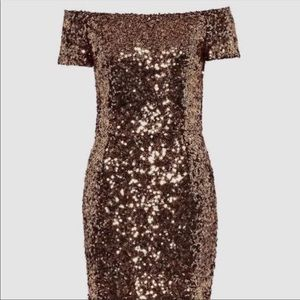 French Connection Off Shoulder Copper Sequin Dress